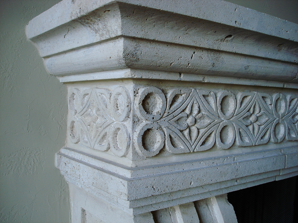 Cantera Stoneworks color palette web banner with image of intricately carved cantera stone fireplace surround.